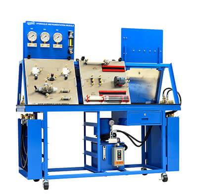 Basic Hydraulics Learning System – Double Sided A-Frame Bench with Two Hydraulic Manifolds Image